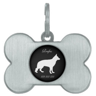 German Shepherd dog custom name phone no. dog id Pet ID Tags