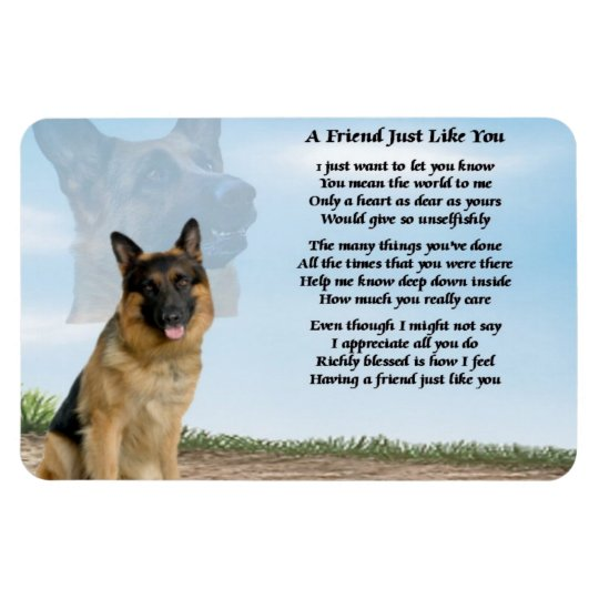 German Shepherd Dog Friend Poem Magnet