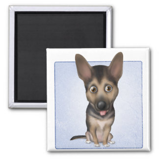 German Shepherd Dog GS1 Square Magnet