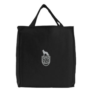 German Shepherd Dog GSD Silhouette with Monogram Embroidered Bags