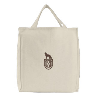 German Shepherd Dog GSD Silhouette with Monogram Embroidered Tote Bags
