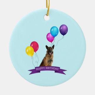 German Shepherd Dog Happy Birthday Round Ceramic Decoration