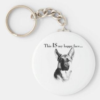 German Shepherd Dog Happy Face Key Ring