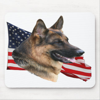 German Shepherd Dog head with flag Mousepad