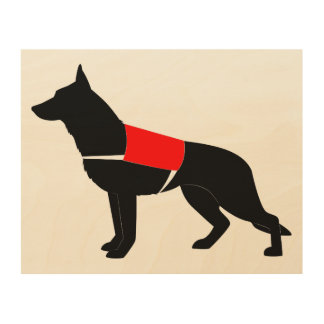 German Shepherd Dog in Silhouette Wood Print