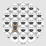German Shepherd Dog in the Sheep Round Stickers