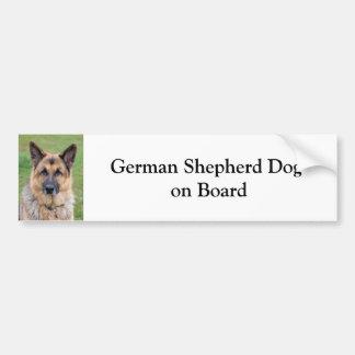 German Shepherd dog on board custom bumper sticker