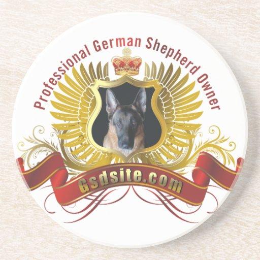 German Shepherd Dog Owner Custom Sandstone Coaster