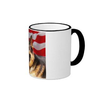 German shepherd Dog Patriot Red Blue White Ringer Coffee Mug