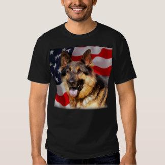 German shepherd Dog Patriot Red Blue White Tee Shirt