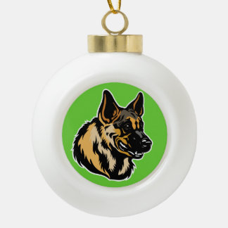 german shepherd dog ceramic ball decoration
