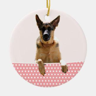 German Shepherd Dog Pink Polka Dots Round Ceramic Decoration