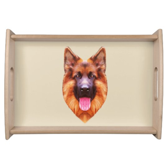 German Shepherd Dog Portrait Serving Tray