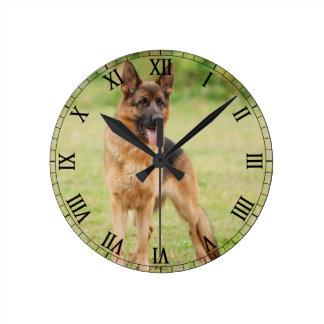 German shepherd dog round clock