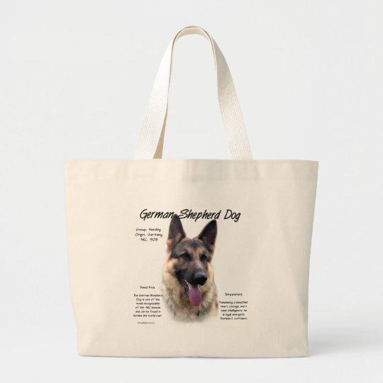 German Shepherd Dog (sable) History Design Large Tote Bag
