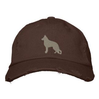 German Shepherd Dog Silhouette Embroidered Baseball Caps