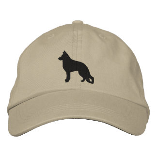 German Shepherd Dog Silhouette Embroidered Hats