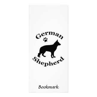 German Shepherd dog silhouette paw print bookmark Rack Card