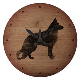 German Shepherd Dog Silhouette Rustic Style Large Clock