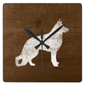 German Shepherd Dog Silhouette Square Wall Clock