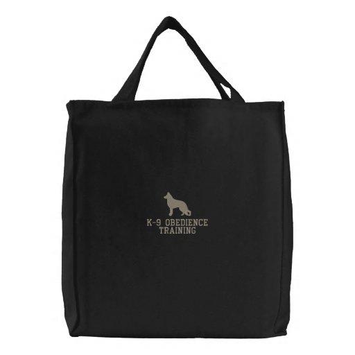German Shepherd Dog Silhouette with Custom Text Bag