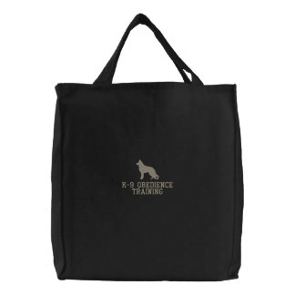 German Shepherd Dog Silhouette with Custom Text Embroidered Tote Bag