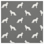German Shepherd Dog Silhouettes Pattern Fabric