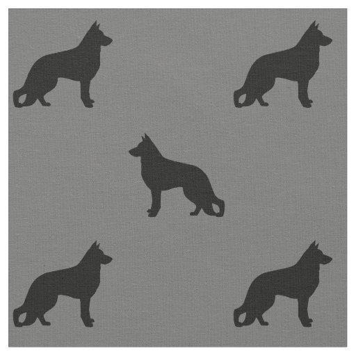 German Shepherd Dog Silhouettes Pattern Fabric