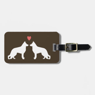German Shepherd Dog Silhouettes with Heart Luggage Tag