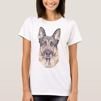 German Shepherd Dog Sketched Artwork T-Shirt