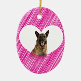 German Shepherd Dog Valentine Pink Heart Ceramic Oval Decoration