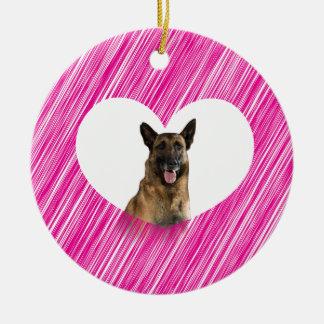 German Shepherd Dog Valentine Pink Heart Round Ceramic Decoration