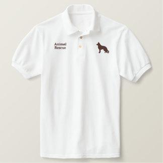 German Shepherd Dog with Paw on Back Side Polo Shirt