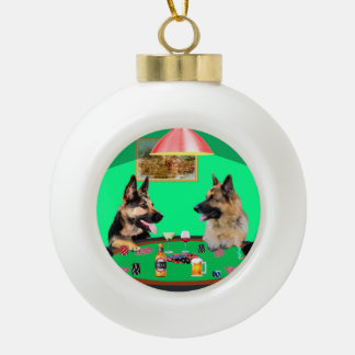 German Shepherd dogs Playing Poker Ceramic Ball Christmas Ornament