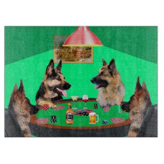 German Shepherd dogs Playing Poker Cutting Board