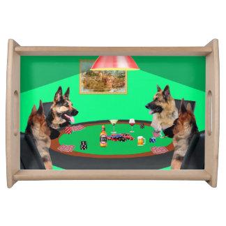 German Shepherd dogs Playing Poker Serving Tray