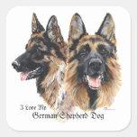 German Shepherd Dogs Square Stickers