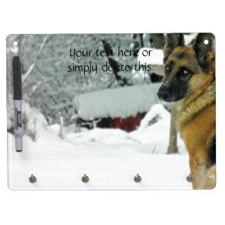 German Shepherd Dry Erase Board With Key Ring Holder