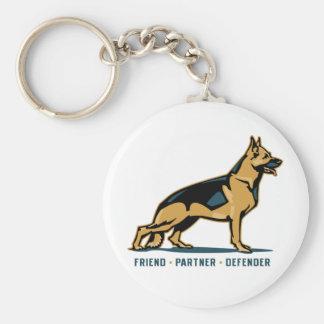German Shepherd Friend Basic Round Button Key Ring