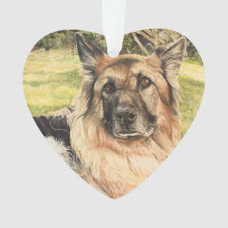 German Shepherd Hanging Heart Decoration
