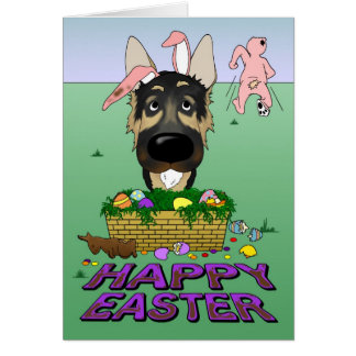 German Shepherd Happy Easter Card