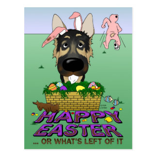 German Shepherd Happy Easter Postcard