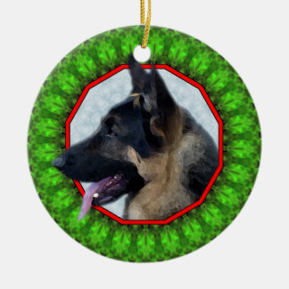 German Shepherd Happy Howliday Christmas Ornament
