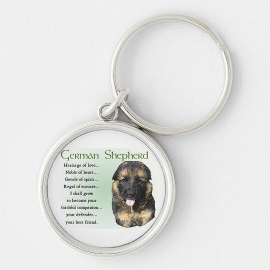 German Shepherd Heritage of Love Silver-Colored Round Key Ring