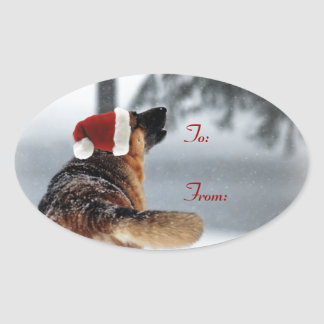 German Shepherd Holiday Gift Tags Oval Sticker