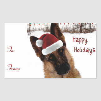 German Shepherd Holiday Gift Tags Rectangular Stickers
