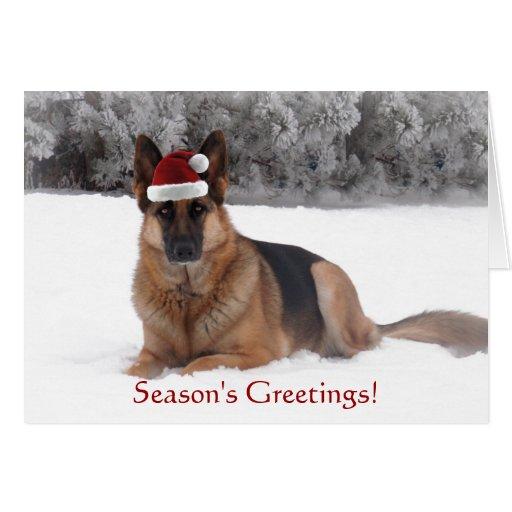 German Shepherd Holiday Greeting Greeting Cards