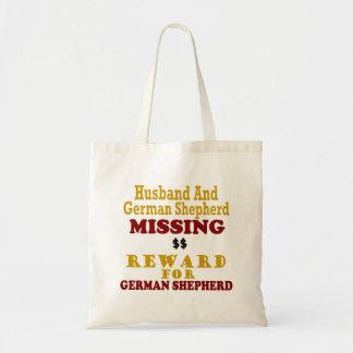 German Shepherd & Husband Missing Reward For Germa Canvas Bags