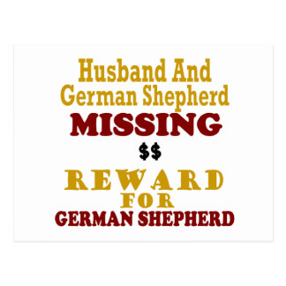 German Shepherd & Husband Missing Reward For Germa Postcard