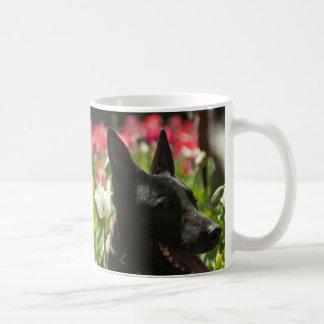 German Shepherd in a Field Basic White Mug